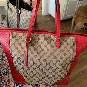 Auth Gucci Bree leather/GG canvas shoulder bag